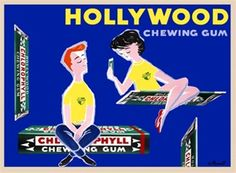 Hollywood chewing gum by Villemot 1956 France - Vintage Poster Reproduction. This horizontal food poster features floating packs of gum with a man and woman sitting on them against blue background. Giclee Advertising Print. Classic Posters
