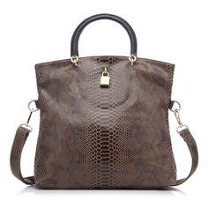 REALER Brand Genuine Leather Bags Female Fashion Snake Pattern Tote Bag Top  Quality Leather Handbags Evening Clutch Shoulder Bag 41698dd5b4f99