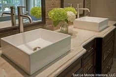 Bathroom Square Sink With Silver Modern Faucet Also Green Flower And Large Rectangle Mirror Besides Transparant Vase  Brown Classic Varnished Wooden Closet Storage   Bathroom Countertops: The Tops Surface Materials for Your Vanity