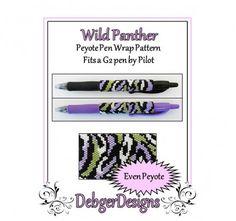 Bead Pattern Peyote(Pen Wrap/Cover)-Wild Panther | DebgerDesigns - on ArtFire