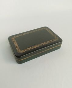 Vintage Jewelry Box, Small Box, Farrington, Jewelry Organizer, Jewelry Storage, Jewelry Armoire, Black with Green Interior, Stash Box by ShaginyAndTil on Etsy