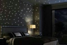 Eclectic Master Bedroom with Carpet, Restoration Hardware Garment-Dyed Percale Sheeting, Surface Mount Twilight Star Panels