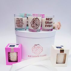New templates ...how to ... make these Gorgeous Aroma Soy Candles ..with a message by www.linktr.ee/ontrendmarketing   Pretty packaging with a window in lipstick pink and rose gold, cream and gold, mint and gold,  black and gold email marketing@ontrendmarketing.co.za