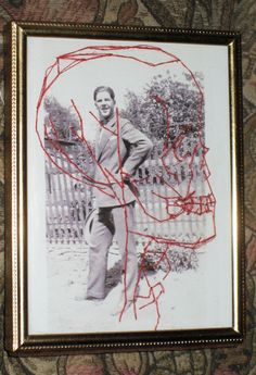 embroidered vintage photo VERGIL free style stitching mixed media art skull