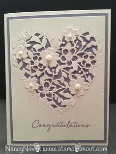 Stampin Up Bloomin Heart Thinlit & Whister Wonder....Beautiful engagement, Wedding or Anniversary Card. Visit my blog for more details and to purchase Stampin' Up Products