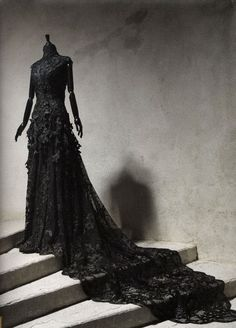 Black lace Victorian dress.