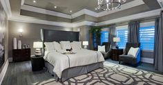 The Princess Margaret Home Lottery Showhome 1 - Master Bedroom-I absolutely love the gray walls Bedroom Green, Bedroom Colors, Dream Bedroom, Bedroom Decor, Bedroom Ideas, Dispositions Chambre, Home Lottery, Bedroom Layouts, Bedroom Vintage