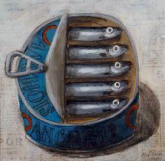 Lovely illustration sardines in a tin