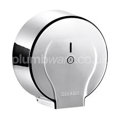 Jumbo toilet roll dispenser with lock. Available in either White Lacquered Steel or Polished Stainless Steel finish.
