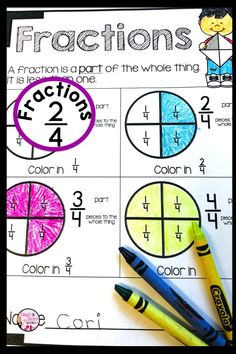 Fractions for beginners can be challenging. This mini fractions resource is perfect for understanding fraction concepts. Great for Kindergarten and First Grade Math. Fraction Activities, Kindergarten Activities, Math Games, First Grade Classroom, Math Classroom, Special Education Math, Math Education, Fractions For Kids, Learning Websites For Kids
