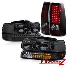 1999-2002 Chevrolet Silverado 1500 Headlight Parking DRL Red Smoke Tail Lights in eBay Motors, eBay Motors | eBay