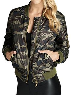 Womens Camouflage Classic Padded Vintage Bomber Biker Jacket Large ** Check this awesome product by going to the link at the image.(This is an Amazon affiliate link)