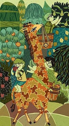 Giraffe Fruit Pickers by Meg Hunt... I love this! With the giraffe's pattern as a jigsaw! I really love her illustration style.   Natália Brasil: uma girafa de quebra-cabeça!