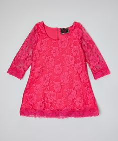 Loving this Hot Pink Lace Dress - Toddler & Girls on #zulily! #zulilyfinds