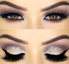 Eye makeup with taupe brown/grey/purple shadow and glitter