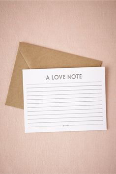 """Love Note Card from BHLDN Bursting with sentiments for your sweetie? This letterpress card from Sugar Paper is waiting for them! Fill this flat card with thoughts, wishes, and (of course), an """"I love you"""" or two."""