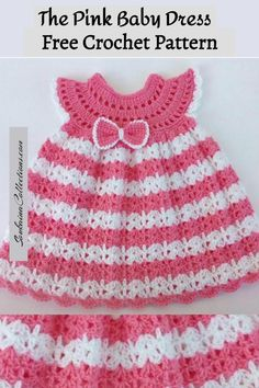 I'm so happy to sharing with you this cute crochet baby dress free pattern. Crochet Baby Dress Free Pattern, Pattern Baby, Baby Dress Patterns, Baby Girl Crochet, Crochet Bows, Crochet Baby Clothes, Crochet Baby Hats, Crochet Patterns, Booties Crochet