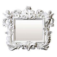 White Baroque Framed Mirror with Cherubs