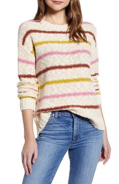 A richly textured slubbed cotton blend looks as homespun-comfy as it feels on this crewneck pullover. Style Name:Caslon Slubbed Cotton Blend Sweater. Style Number: Available in stores. Merino Wool Sweater, Wool Sweaters, Plaid Pencil Skirt, Pleated Maxi, Shearling Jacket, Pullover, Sweater Fashion, Nordstrom, Beige