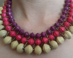 Emily statement paper bead necklace by BaNyabo on Etsy