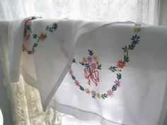 Cheery Runner Embroidered Linen Dresser Scarf by mailordervintage