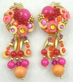 Fuchsia & Orange Collage Earrings - Garden Party Collection Vintage Jewelry