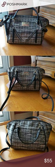 """Juicy Couture Diagonal Zipper Satchel 8""""H x 9""""W x 5.5""""D drop down handles length: 4"""" Approx. drop down strap: 23"""" handles & adujstable/removal crossbody strap exterior: slip pocket&2 zip pocket faux leather Juicy Couture Bags Crossbody Bags"""