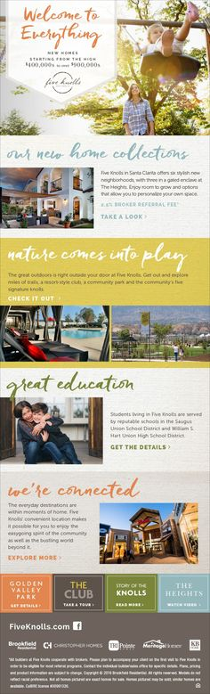 New Homes for Sale in Santa Clarita, California  Introducing Six New Home Collections at Five Knolls  Brokers Welcome!  2.5% Broker Referral Fee  http://fiveknolls.com/