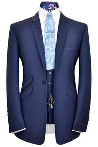 Oxford blue three piece notch lapel suit