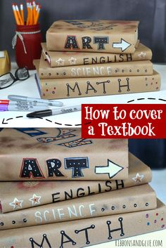 Remember when we used to cover out textbooks in school? Easy tutorial on how to make textbooks super cool by covering with Kraft paper and decorating with Sharpie markers. Fun way to make textbooks too cool for school!