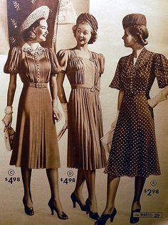 1939 Montgomery Ward catalog fashions | Pleats, tucks and sh… | Flickr