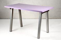 Table 245. Table with metal base painted in aluminium grey with a laminated top.  Tavolo 245. Tavolo con base in metallo verniciato grigio alluminio e piani in laminato.