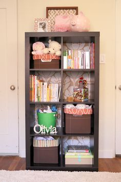 I really like the idea of using a patterned fabric for the back of the shelving.