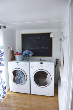 chalkboard over the washer & dryer