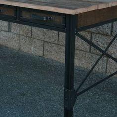 Vintage Industrial Reclaimed Wood Desk With Drawers. Barnwood And Steel by Lee Cowen