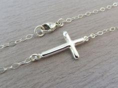 Sideways cross necklace Sterling silver cross by MarciaHDesigns, $30.00