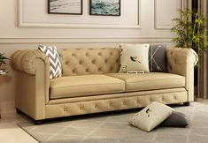 Henry 3 Seater Sofa (Cotton, Irish Cream) @ Rs 37,989. buy online from #WoodenStreet #fabricsofa #fabricsofasets #3seatersofa #sofas #sofasets #comfortsofa