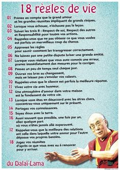 Aujourd'hui / les 18 règles de vie du Dalaï Lama: Today / the 18 rules of life of the Dalai Lama: Positive Attitude, Positive Vibes, Yoga Online, Alo Yoga, Burn Out, Quote Citation, French Quotes, Positive Affirmations, Meditation