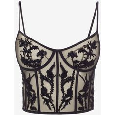 Alexander McQueen Embroidered Bustier Top ($4,180) ❤ liked on Polyvore featuring tops, black, embroidered top, beaded top, structured top, alexander mcqueen and bustier tops
