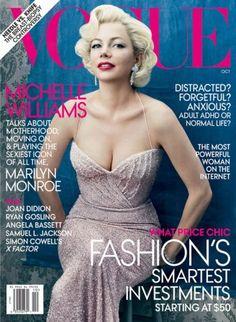 Fashion Assistance: Michelle Williams, caracterizada como Marilyn, portada de Vogue Octubre 2011