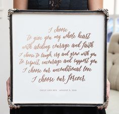Capture the special memories of your wedding day and turn your wedding vows into a beautiful foil-pressed art print.