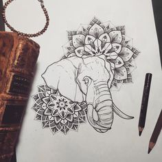 Lolita #misssita #misssitatattoo #elephant #mandala #dotwork #illustration #love #peace #home (presso Oneonine Barcelona)