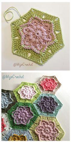 Background color idea. Wind Flower Hexagon Free Crochet Pattern.