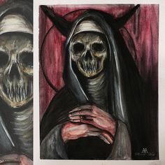 UNHOLY ©MWeissArt painting on watercolour acid free paper The paper measures 24 x 30 cm Painting including white border cm for easier fram. Free Paper, Traditional Art, Darth Vader, Deviantart, Watercolor, Skulls, Painting, Fictional Characters, Dark Art