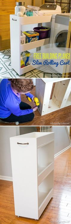 Awesome Space Saving Laundry Room Storage Ideas | DIY Slim Rolling Cart by DIY Ready at http://diyready.com/laundry-room-organization-ideas/