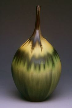 Jan Bilek ceramic, Green/Amber Bottle