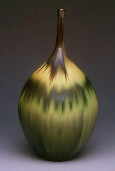 Jan Bilek ceramic, Green/Amber Bottle