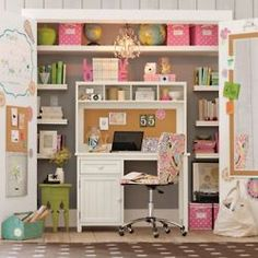 I like this because you would ideally be able to close the closet doors and hide the clutter of the desk