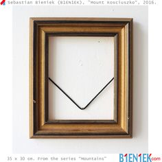 """Mount Kosciuszko"" (the highest mountain in Australia) by Sebastian Bieniek (B1EN1EK), 2016. Old frame on wall. 35 x 30 cm. From the series ""Mountains"".  More ➔ https://www.b1en1ek.com/works/conceptual-art/2016-mountains/  #SebastianBieniek #Bieniek #B1EN1EK #BieniekMountains #BieniekFrames #BieniekMount #BieniekMountKosciuszko #artwork #art #Berlinart #CheopsPyramid #BieniekKosciuszko #MountKosciuszko #Kosciuszko"