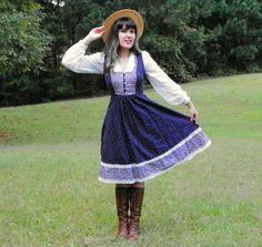 1970s Vintage Gunne Sax Navy Prairie Dress Knee by Enchantedfuture